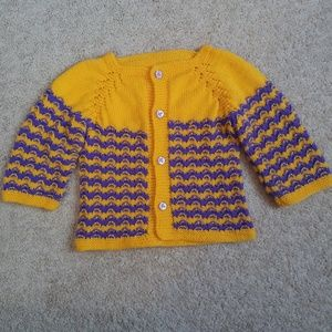 Vintage '70s Hand Knit Sweater Cardigan Girls 24M